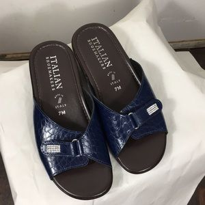 Italian Shoemakers brown & blue sandals with gems